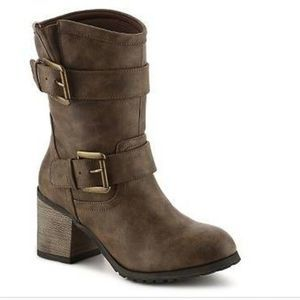 Diba | Keller Chunk Heel Brown Buckle Boots 9.5